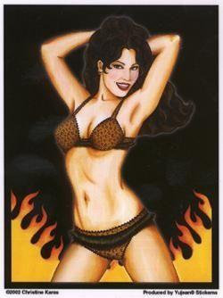 Combustible Babe Pin-up Girl Sticker