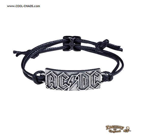 AC/DC Leather Wriststrap / Official Licensed AC/DC Merchandise, Pewter AC/DC