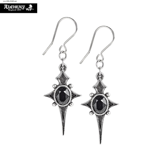 Black Crystals Stars of Life Pewter Earrings by Alchemy Gothic 1977