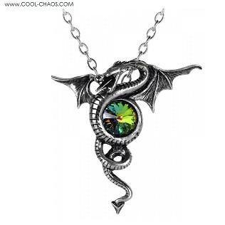 Aqua Blue Crystal Dragon Pewter Necklace by Alchemy Gothic 1977