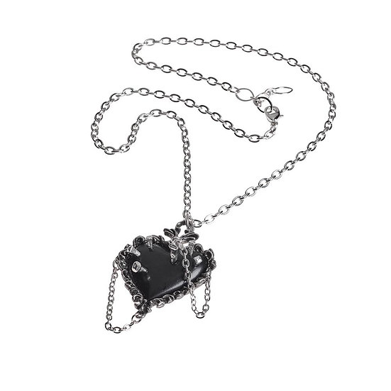 Pewter Witches Black Heart Necklace by Alchemy Gothic 1977