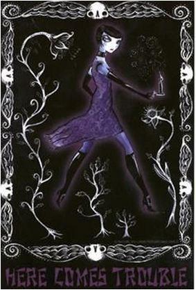 Purple Goth Girl Trouble Sticker