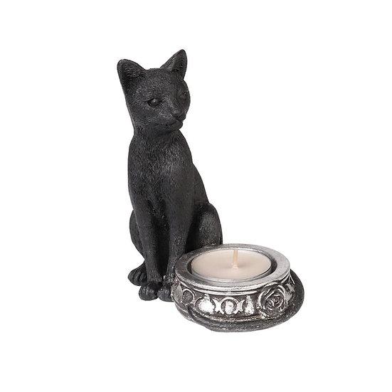 Sacred Black Cat Black Tealight Holder by Alchemy Gothic 1977