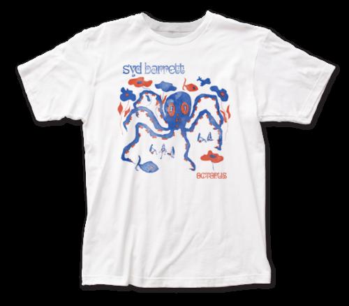 Syd Barrett T-Shirt / Syd Barrett OCTOPUS Rock Tee - RED WHITE & BLUE WATERCOLOR