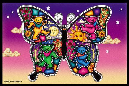 Dan Morris Whimsical Sunset Bears Butterfly Postcard