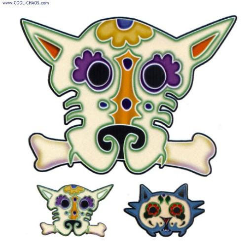 Sugar Skull Dog Sticker & Mini Dog & Cat Sticker