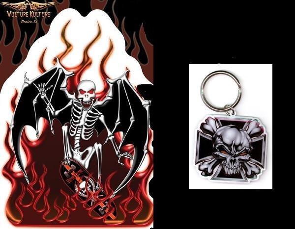 Reaper Sticker Cross Skull Keychain Gift Set