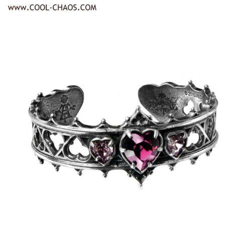 Elizabethan Purple Heart Bracelet, Romantic Cuff Bracelet,Unique Valentine's