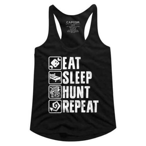 MONSTER HUNTER TANK TOP TEE / EAT, SLEEP, HUNT,REPEAT VIDEO GAME JUNIORS TANK