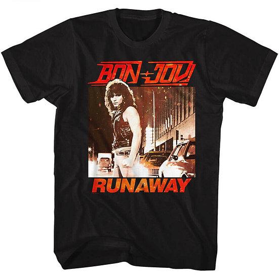 BON JOVI T-SHIRT / BON JOVI RUNAWAY JON BON JOVI 80'S THROWBACK RETRO ROCK TEE