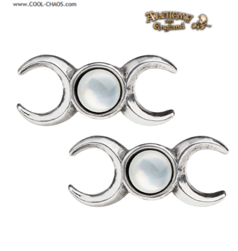 Mother of Pearl Moon Goddess Earrings/Mystic Moons,Pewter,Alchemy Gothic 1977
