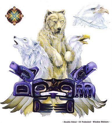 Respect Nature Tribal Totem Bear Eagle Wolf Sticker