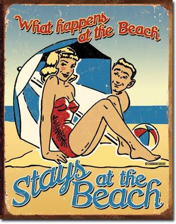 Schonberg What Happens at the Beach Tin Sign