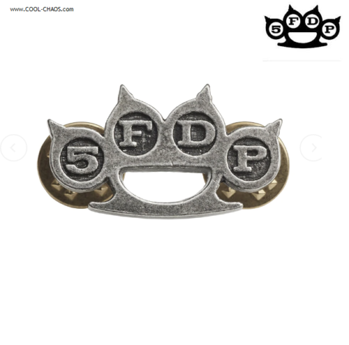 Five Finger Death Punch Hat Pink, 5FDP Knuckle Duster Pewter Collectors Pin