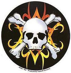 Tribal Flames Jolly Roger Skull Sticker