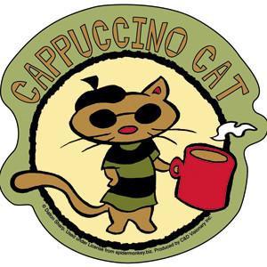 Cappuccino Coffee House Cat Sticker