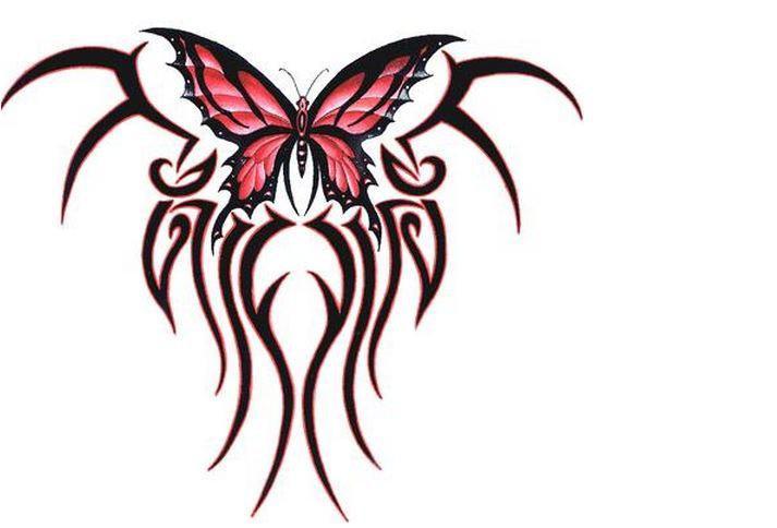 Red Tribal Butterfly Sticker