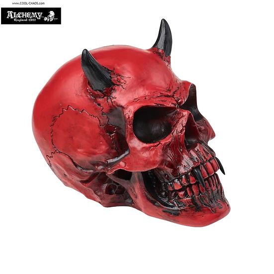 Vampire Devil Skull Statue / Halloween Decoration,Fangs! Red Satan Skull Bust,