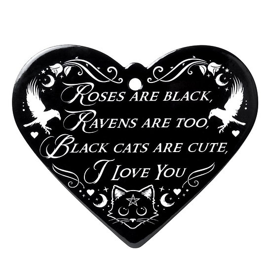 Black Cat I love you Heart Kitchen Trivet by Alchemy Gothic 1977