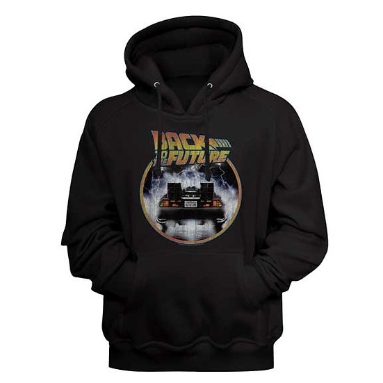 Back to the Future Hoodie / 80's Movie Poster Black Hooded Sweatshirt