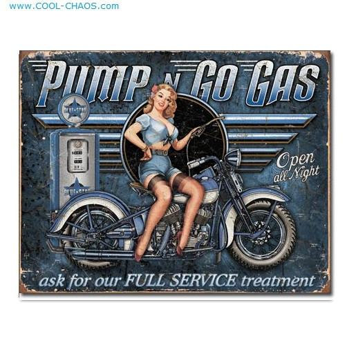 Retro Pin-up Biker Babe Pump n Go Gas Sign