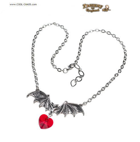 Vampire Red Heart Necklace / Pewter Bat Love Necklace - Alchemy Gothic 1977