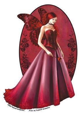 Ruby Queen of Hearts Butterfly Fairy Sticker