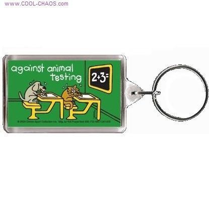 Against Animal Testing Dog Cat Keychain