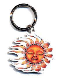 Sleeping Sun Whimsical Keychain
