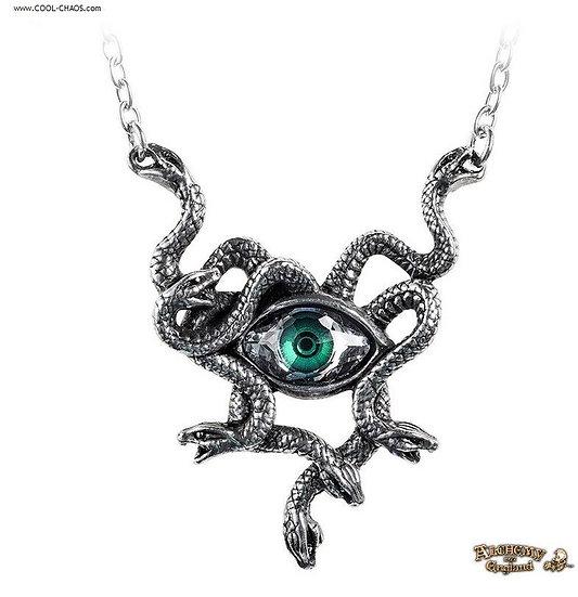 Gorgon Necklace by Alchemy Gothic 1977, Pewter Medusa Gorgon's Eye Pendant