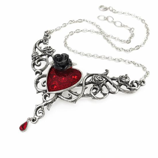 Alchemy Gothic Blood Rose Heart Pendant Necklace - P721