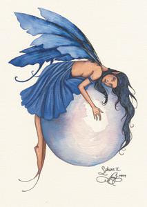 Amy Brown Fairy Art Postcard #1 Sphere II Blue Fairy