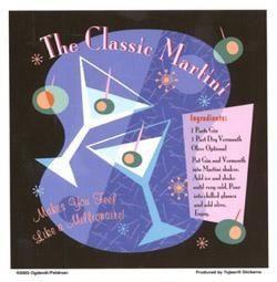 Classic Martini Recipe Retro Sticker