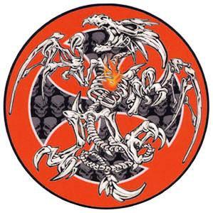 Maltese Cross Skeleton Dragon Sticker