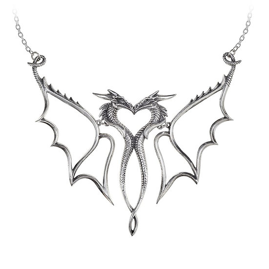 Pewter Twin Dragons Heart Necklace Pendant by Alchemy Gothic 1977