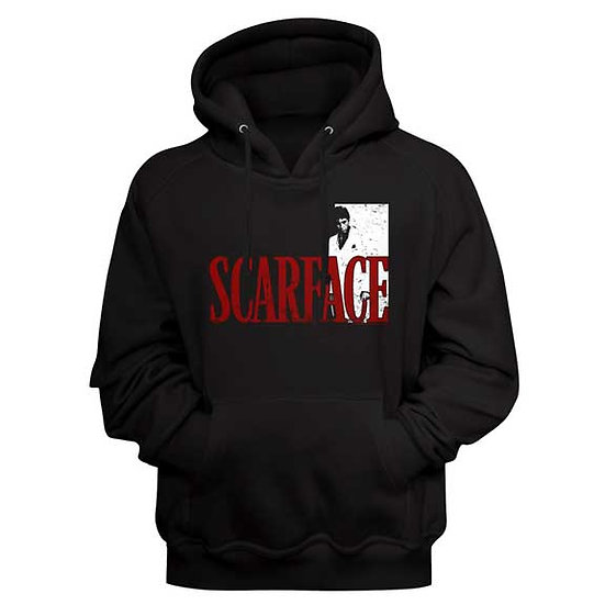 Scarface Hoodie / 70's Scarface Movie Logo Red Hooded Sweatshirt