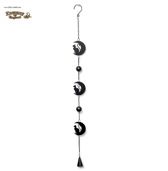 Mystic Moon Black Cat Wind Chime by Alchemy Gothic 1977, New 2019,Halloween