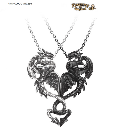 Dragon Tryst Necklaces/Two Pewter Dragons-Couples Necklaces-Alchemy Gothic 1977