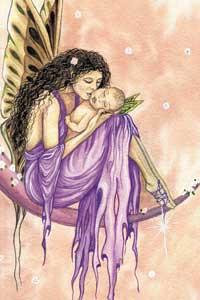 Fantasy Fairy Art Mother and Baby Fairy Magnet