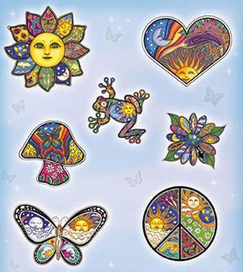 Dan Morris Hippie Peace Cell Phone Stickers
