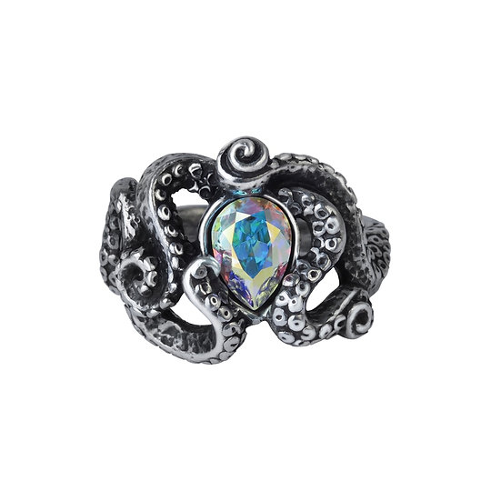 Pewter Sea Creature 'CTHULHU' Crystal Ring
