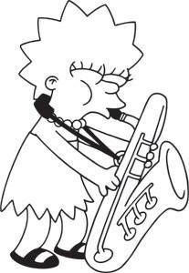 Lisa Sax The Simpsons Rub-on Sticker