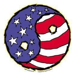 Flag Yin Yang USA Sticker