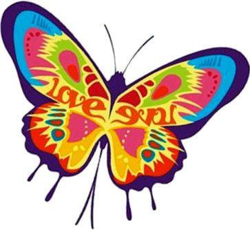 Graffiti Art Rainbow Butterfly Love Sticker