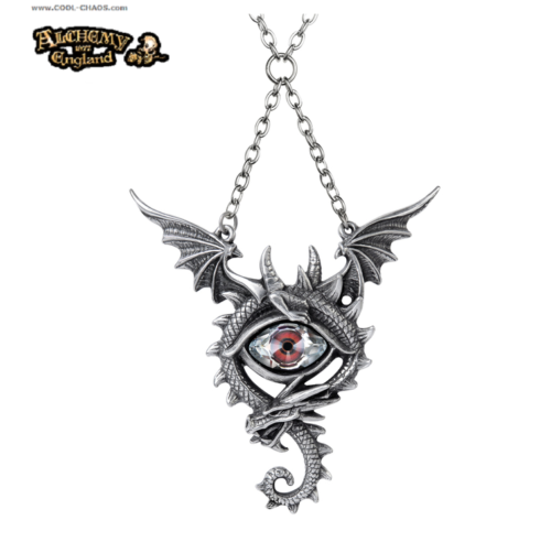 Eye of the Dragon Necklace - Pewter Crystal Eye Dragon by Alchemy Gothic 1977