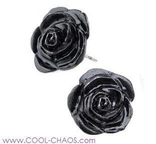 Romance of the Black Rose Earrings-Pewter Roses
