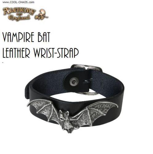Pewter Vampire Bracelet/Black Leather Strap,Bat,Alchemy Gothic,Horror,Halloween