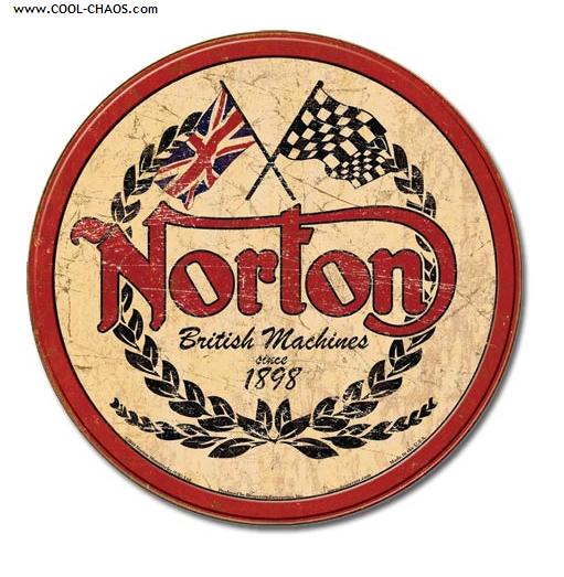 Norton Tin Sign / Distressed, Retro Replica Norton British Machines Tin Sign