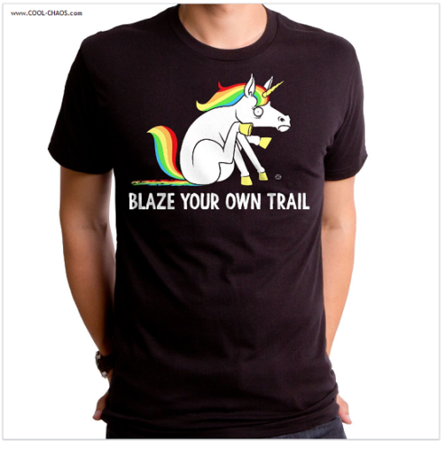 Rainbow Unicorn Poop T-Shirt / Funny Men's Tee / Blaze your own trail!