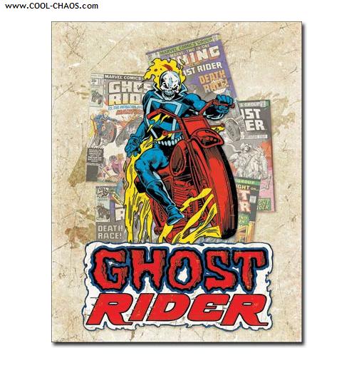 Ghost Rider Sign / Retro, Distressed Comic Book Tin Sign